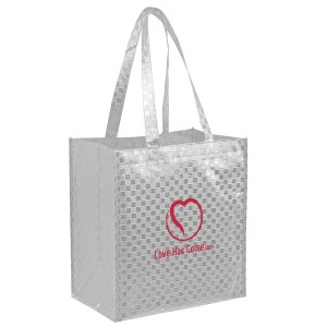 Metallic Gloss Designer Grocery Tote Bag With Patterned Finish