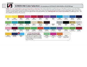 Screen Print Color Chart