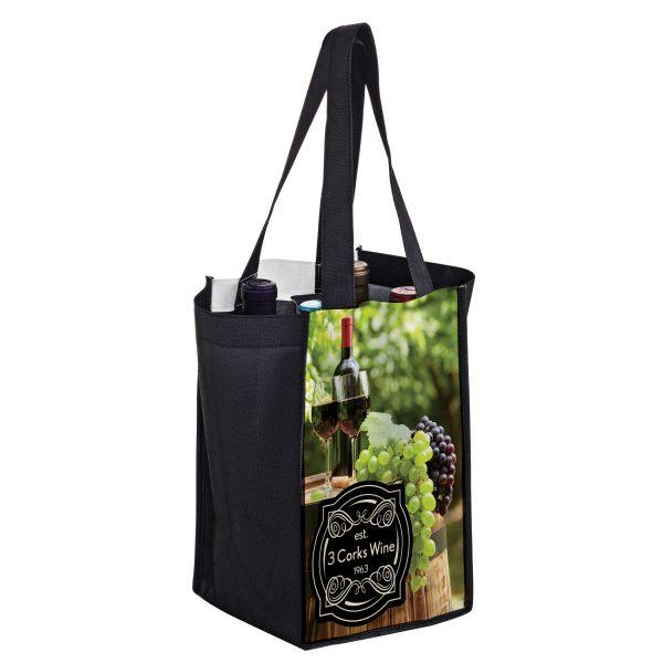 SUBVINE4 Dye Sublimation PET Non Woven Sublimated 4 Bottle Wine Bag