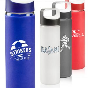 18 oz Glass Water Bottles with Silicone Sleeves APG231