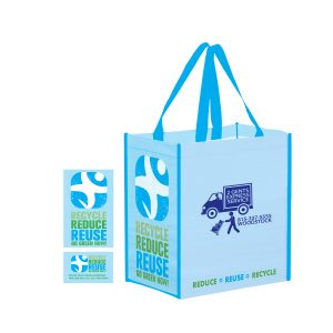 ECO12813-Screen Print 100% RPET Laminated Grocery Bag With Stock Design Gussets